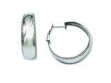 Chisel Stainless Steel Textured Edge Hoop Earrings style: SRE491