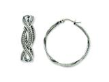 Chisel Stainless Steel 35mm Twisted Hoop Earrings style: SRE511