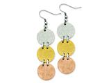 Chisel Stainless Steel Tri-color Ip-plated Discs Dangle Earrings style: SRE524