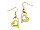 Chisel Stainless Steel Yellow Ip-plated Laser-cut Heart W/czs Dangle Earrings style: SRE525