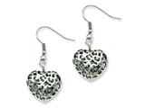 Chisel Stainless Steel Puffed Heart Dangle Earrings style: SRE536