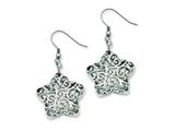 Chisel Stainless Steel Puffed Star Dangle Earrings style: SRE538