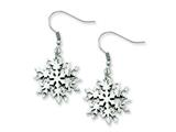 Chisel Stainless Steel Polished Snowflake Dangle Earrings style: SRE539