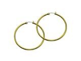 Chisel Stainless Steel Gold Ip Plated 48mm Hoop Earrings style: SRE562