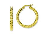 Chisel Stainless Steel Yellow Ip-plated and Textured Hoop Earrings style: SRE579