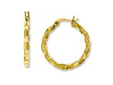 Chisel Stainless Steel Yellow Ip-plated and Textured Hoop Earrings style: SRE581