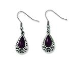 Chisel Stainless Steel Antiqued and Purple Cats Eye Teardrop Dangle Earrings style: SRE595