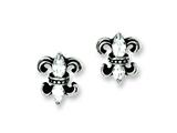 Chisel Stainless Steel Antiqued Fleur De Lis With CZ Post Earrings style: SRE598