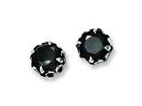Chisel Stainless Steel Black CZ Antiqued Post Earrings style: SRE599
