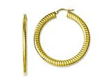 Chisel Stainless Steel Yellow Ip-plated Textured Hollow Hoop Earrings style: SRE613