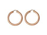 Chisel Stainless Steel Pink Ip-plated Textured Hollow Hoop Earrings style: SRE614