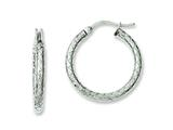 Chisel Stainless Steel Small Textured Hollow Hoop Earrings style: SRE615
