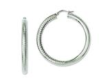 Chisel Stainless Steel Half Textured and Polished 40mm Hollow Hoop Earrings style: SRE624
