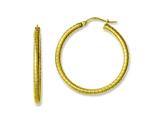 Chisel Stainless Steel Yellow Ip-plated Textured Hollow Hoop Earrings style: SRE627