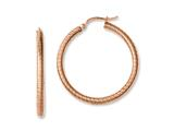 Chisel Stainless Steel Pink Ip-plated Textured Hollow Hoop Earrings style: SRE628