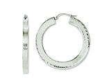 Chisel Stainless Steel Polished and Textured 30mm Hollow Hoop Earrings style: SRE632