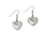 Chisel Stainless Steel Polished W/swirl Design Puff Hearts Dangle Earrings style: SRE640