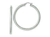 Chisel Stainless Steel Textured Hollow 50mm Hoop Earrings style: SRE643
