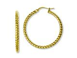 Chisel Stainless Steel Yellow Ip-plated Textured Hollow Hoop Earrings style: SRE648