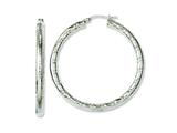 Chisel Stainless Steel Textured and Polished Hollow Hoop Earrings style: SRE650
