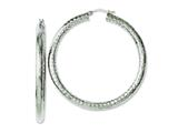 Chisel Stainless Steel Textured and Polished Hollow Hoop Earrings style: SRE651