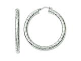 Chisel Stainless Steel Textured Hollow Hoop Earrings style: SRE652