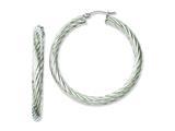Chisel Stainless Steel Textured Hollow Hoop Earrings style: SRE655
