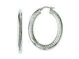 Chisel Stainless Steel Textured Hollow Oval Hoop Earrings style: SRE660