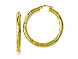 Chisel Stainless Steel Yellow Ip-plated Textured and Polished Hoop Earrings style: SRE669