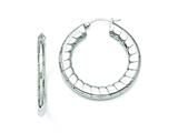 Chisel Stainless Steel Textured Hollow Hoop Earrings style: SRE671