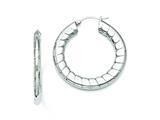 Chisel Stainless Steel Textured Hollow Hoop Earrings style: SRE671