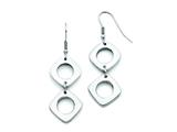 Chisel Stainless Steel Square Shepherd Hook Dangle Polished Earrings style: SRE693