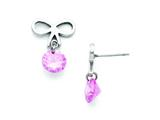 Stainless Steel Bow With Pink Zircon Polished Post Earrings style: SRE694