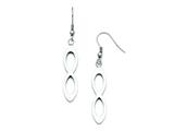 Stainless Steel Polished Shepherd Hook Dangle Infinity Earrings style: SRE696