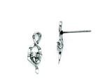 Chisel Stainless Steel Polished CZ Post Earrings style: SRE699