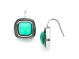 Chisel Stainless Steel Antiqued Imitation Turquoise Shepherd Hook Earrings style: SRE700
