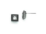 Chisel Stainless Steel Square CZ Antiqued Post Earrings style: SRE712