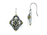 Chisel Stainless Steel Blue Glass Yellow Ip-plated Accent Antiqued Earrings style: SRE718
