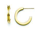 Chisel Stainless Steel Yellow Ip-plated J-hoop Earrings style: SRE720