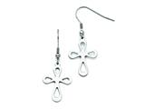 Stainless Steel Polished Cut Out Cross Shepherd Hook Earrings style: SRE724