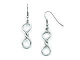 Stainless Steel Polished Infinity Symbol Shepherd Hook Earrings style: SRE733