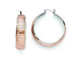 Chisel Stainless Steel Polished And Textured Pink Ip-plated Hoop Earrings style: SRE735