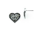 Chisel Stainless Steel Marcasite Textured Heart Post Earrings style: SRE737