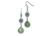 Chisel Stainless Steel Polished Black Mother Of Pearl/cz Dangle Earrings style: SRE744