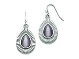 "Chisel Stainless Steel Polished Grey Cat""s Eye Shepherd Hook Earrings style: SRE746"