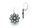 Chisel Stainless Steel Polished/antiqued Cz Flower Earrings style: SRE748