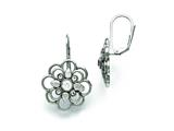 Chisel Stainless Steel Polished Cz Flower Leverback Earrings style: SRE749