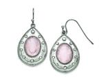 Chisel Stainless Steel Polished Rose Quartz And Cz Shepherd Hook Earrings style: SRE750