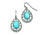 Chisel Stainless Steel Polished Imitation Turquoise And Cz Shepherd Hook Earrings style: SRE751