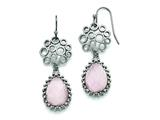 Chisel Stainless Steel Polished Rose Quartz Shepherd Hook Earrings style: SRE753